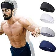 Sports Headbands for Men and Women (4 Pack) - Lightweight Sweat Band Moisture Wicking Workout Sweatbands for R