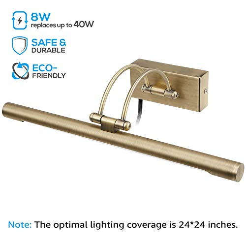 LEONLITE LED Picture Light, Full Metal Artwork Lamp with Swivel Lamp Head, 8W (40W Eqv.), Plug-n-Play & Hardwire, UL-Listed Power Cord, 3000K Warm White, CRI90+, Arc Arm, 560Lm, Antique Brass Finish by LEONLITE (Image #3)