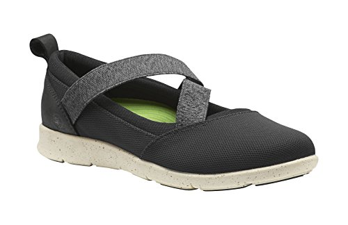 Superfeet Palisade Women's Mary Jane Shoe, Black/Turtledove, Leather/Mesh/Stretch Gore, Women's 7 US (Gore Side Leather)