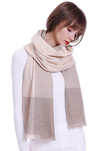 cashmere scarf wraps blanket shawls 100% pure cashmere scarves Pashmina extra large hit color (camel & beige) ()