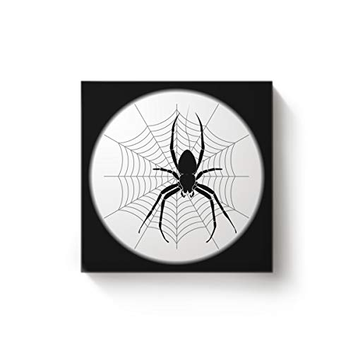 Arts Language Canvas Wall Art Square Oil Painting Office Home Decor,Spiders Web Halloween Black and White Artworks for Christmas,Stretched by Wooden Frame,Ready to Hang,20 x 20 Inch for $<!--$23.47-->