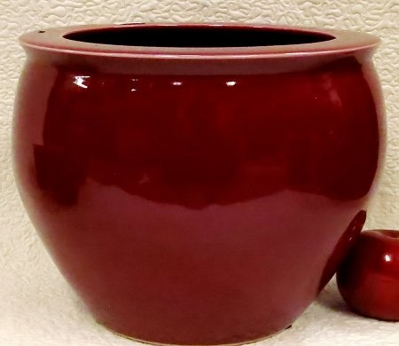Oxblood Red Porcelain Fish Bowl 10'' by BlueWhiteVases