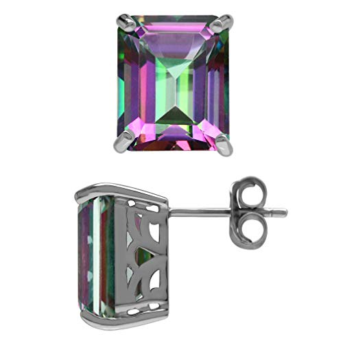 15.28ct. Mystic Fire Topaz 925 Sterling Silver Stud Post Earrings