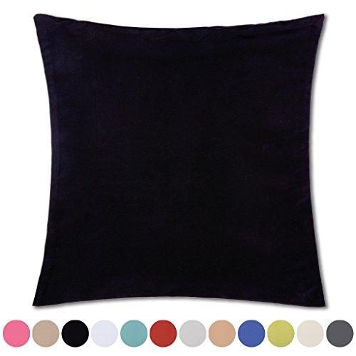 Kissenhülle Microsatin in Trendfarben Satinoptik mit Reißverschluß Auswahl: schwarz - jet black ca. 50cm x 50cm