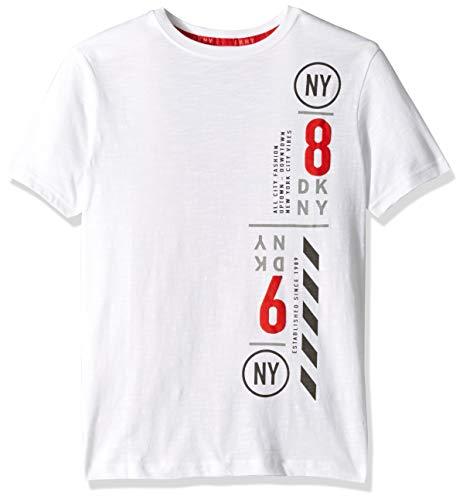 DKNY Boys' Big Short Sleeve Fashion T-Shirt, Racer White, 8 (Dkny Short Sleeve Tee T-shirt)