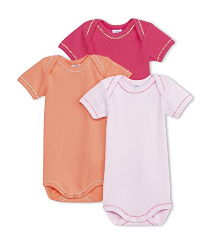 Petit Bateau 3 Pack Bodysuits (Baby) - Orange/Light Pink/Pink-18 Months