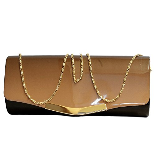 Rock on Styles Patent Sparkly Bridal Evening Party Prom Handbag Clutch Bag-6672 Khaki Bag