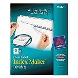 Index Maker Clear Label Dividers, 8-Tab, Letter, White, 25 Sets, Sold as 25 Set