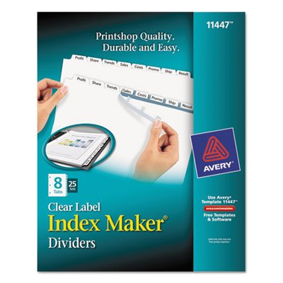 Index Maker Clear Label Dividers, 8-Tab, Letter, White, 25 S