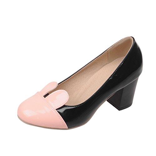 Charm Foot Womens Spring Cute Chunky Heel Pumps Shoes Black+Beige