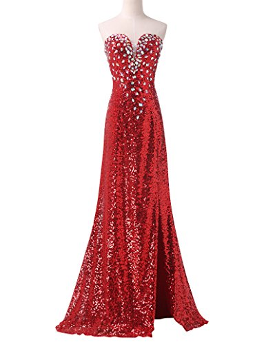 Lady's Prom Party Sequined Split Dresses for Ceremony Red Size - Dress Taffeta Strapless Evening
