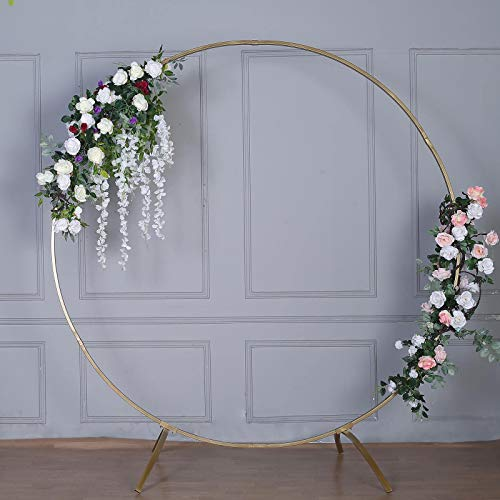 Efavormart 7.5 Ft Round Gold Metal Wedding Arch Photo Booth Backdrop Stand – 100 Lbs Capacity