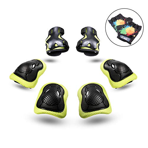 PHZ. Kids 8 in 1 Knee Pads Elbow Pads Wrist Guards Protective Gear Set for Rollerblading Skateboard Cycling Skating Bike (Green) (Good Bike For 5 Year Old Boy)
