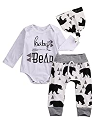 Newborn Baby Boy Girl Bear Romper+Long Pants+Hat Outfits Set