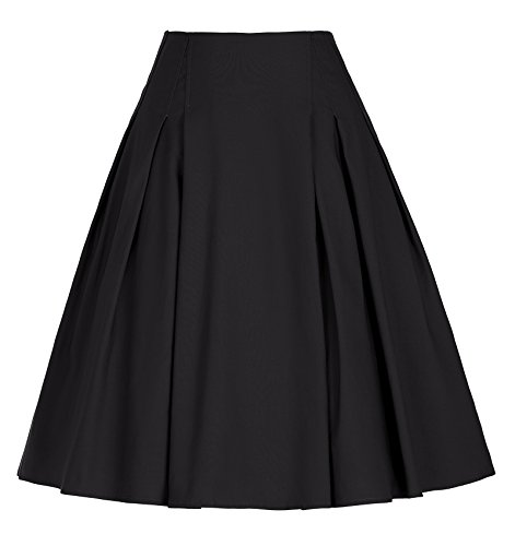 Stretch Taffeta Skirt (1950s Black Skirts for Juniors Knee-Length Swing Midi Dress (Black, L))