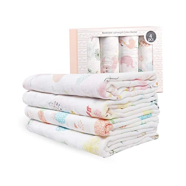 Viviland Baby Muslin Swaddle Blanket for Newborn Girls | 70% Bamboo 30% Cotton Receiving Blanket Swaddle Wrap with Gift Box | 4 Packs,47 X 47 inch,Bunny,Pineapple,Dandelion,Flamingo