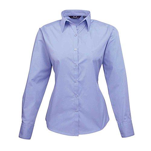 Premier Chemisier en popeline à manches longues pour femme en Bleu Bleu 16 - UK 16