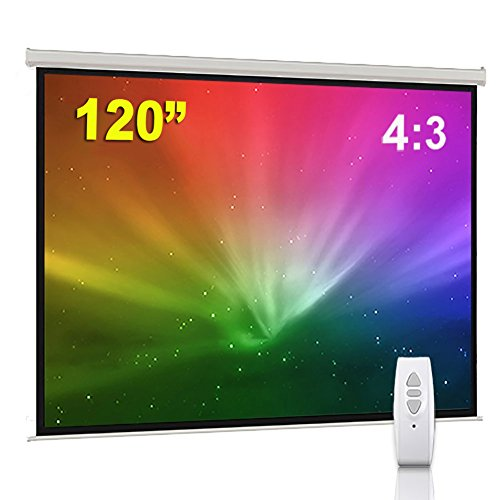 BPS 120″ 4:3 Electric Projector Screen HD/3D/1080P Electric Motorised Matt White + Remote Control TV DVD Home Theatre/Office/Cinema