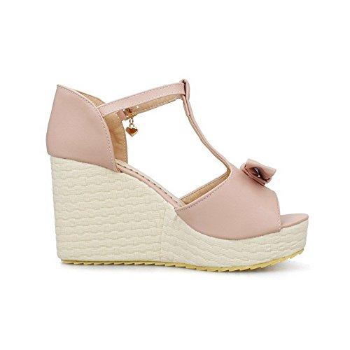 AllhqFashion Women's Buckle Peep Toe High Heels Pu Solid Sandals Pink GnMM56Ff