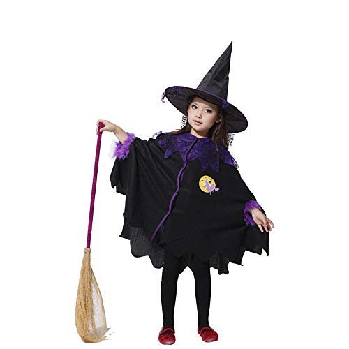 High End Halloween Costumes Toddler (Halloween Girls Witch Cloak Cape Cosplay Costume with Hat Potion Wizard Dress Set Plush Playsuit for Kids)