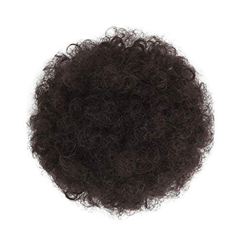 Hunzed Beauty Kinky Wig for Black Women - Short Afro Wavy Curly Hair Synthetic Fiber Hair Drawstring High Puff Ponytail Hair Extension Afro Bun for Natural Hair -