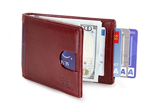 - Travel Wallet RFID Blocking Bifold Slim Genuine Leather Thin Minimalist Front Pocket Wallets for Men with Money Clip - Made From Full Grain Leather (Mahogany 1.0)