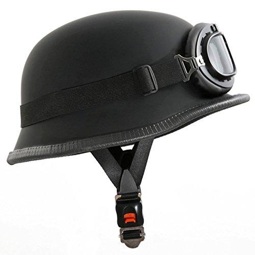Oldschool Motorradhelm mit Fliegerbrille - Wehrmachtshelm - Halbhelm - Halbschalenhelm (XL, Mit Brille)
