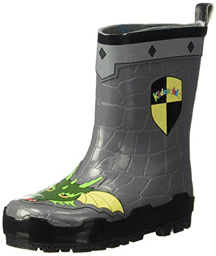 (Kidorable Boys' Dragon Knight Rain Boot, Grey 10 M US)