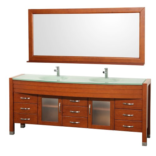 Cheap  Wyndham Collection Daytona 78 inch Double Bathroom Vanity in Cherry with Green..