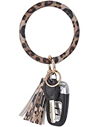 Wristlet Keychain Bracelet Bangle Keyring - Large Circle Key Ring Leather Tassel Bracelet Holder For Women Girl