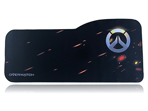 Overwatch Extended Size Custom Professional Gaming Mouse Pad - Anti Slip Rubber Base - Stitched Edges - Large Desk Mat - 28.5 x 12.75 x 0.12 (Curve, Logo)