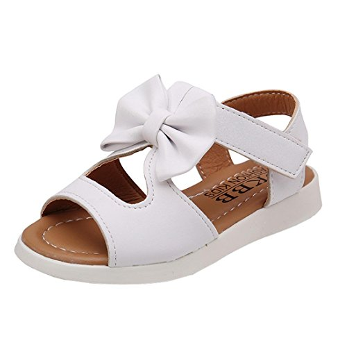 bobo4818 Trekkingsandalen für Kinder Mode Kinder Mädchen Sandalen Bowknot  Flache Prinzessin Schuhe Weiß