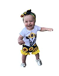 HomeMals Baby Short Sleeve Cartoon Cow Print Lace Top + Sunflower Flower Shorts Set