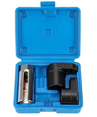 8milelake 3 Pc Auto Oxygen Sensor 6 Point Socket Wrench O2 Tool Set Remover Installer Kit W/. Case