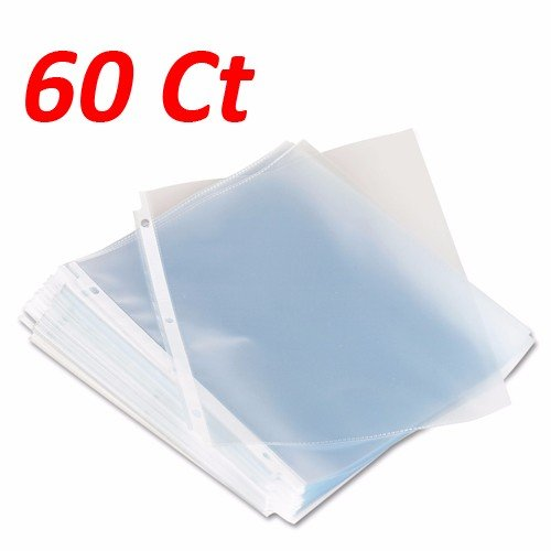 Wideskall Economy Weight Clear Poly Sheet Page Protectors Non-Stick 8.5 x 11 - Pack of 60