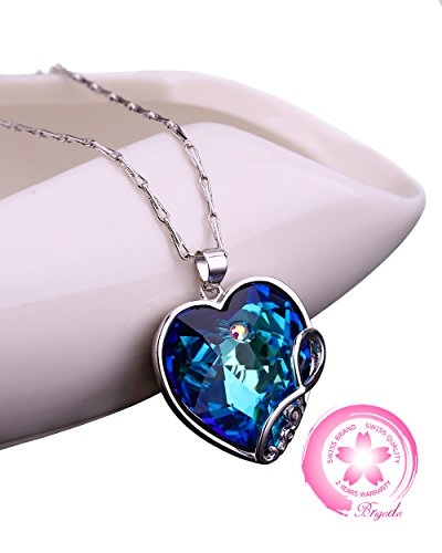BRIGADA Fashion Sterling Silver Heart Necklace for Girlfriend Mom Women, Swarovski Crystal Love Jewelry Necklaces for Women, Soulful Blue or Fascinating Purple from BRIGADA