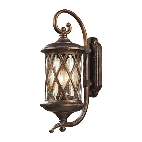 Barrington Gate Elk - Elk Lighting 42031-2 Barrington Gate 2 Light Medium Transitional Outdoor Wall Lamp Lighting Fixture, Hazlenut Bronze, Designer Waterglass, B11859
