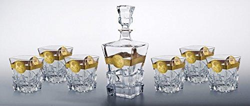Denizli Spirits 7-pc Set of 30 Oz Bohemia Crystal Decanter with Vintage Gold Greek Key Pattern and 9 Oz Whisky Scotch Brandy Glasses
