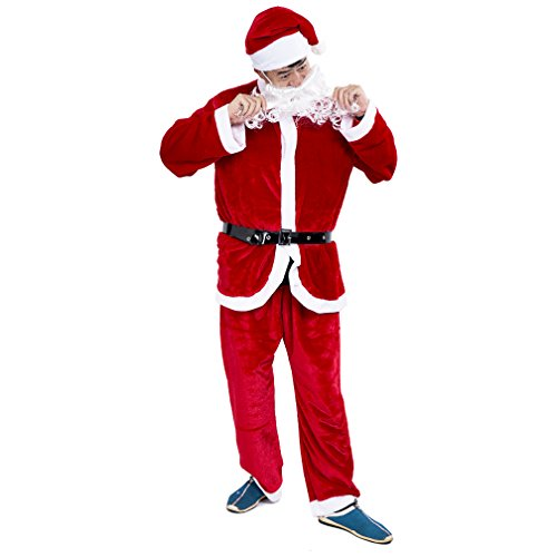 Jaaytct Mens Santa Suit Christmas Adult Santa Claus Costume Complete Dress-up Outfit for Christmas
