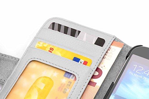Cadorabo - Funda LG L70 Book Style de Cuero Sintético en Diseño Libro - Etui Case Cover Carcasa Caja Protección con Tarjetero en NEGRO-ÓXIDO BLANCO-MAGNESIO