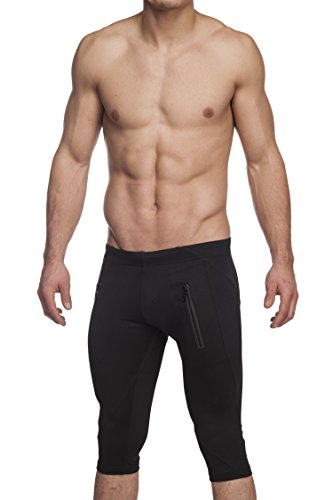 Gary Majdell Sport Men's Active Yoga Capri Pant With Front Zipping Pockets by Black X-Large For Sale