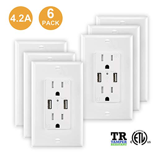 USB Outlet, 6 Pack USB Outlet Charger Wall Plate,Fast Charger, High Speed Decora Outlet, Duplex Receptacle with Dual USB Ports 15A 125V 60Hz Tamper Resistant & Free Wallplate, White