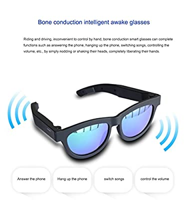 Upgrade Version Bone Conduction Intelligent Awake Glasses Polarized Sunglasses, Stereo Music Wireless Bluetooth Glasses, Ear Hanging Headphones Multi-Functional Headphones Hearing Aids, Driving Preven