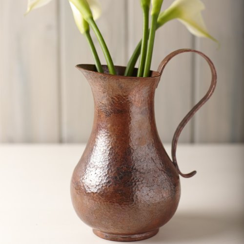Los Olivos 100% Pure Solid Hammered Tempered Copper Pitcher, 70 Fl. Oz. by Native Trails