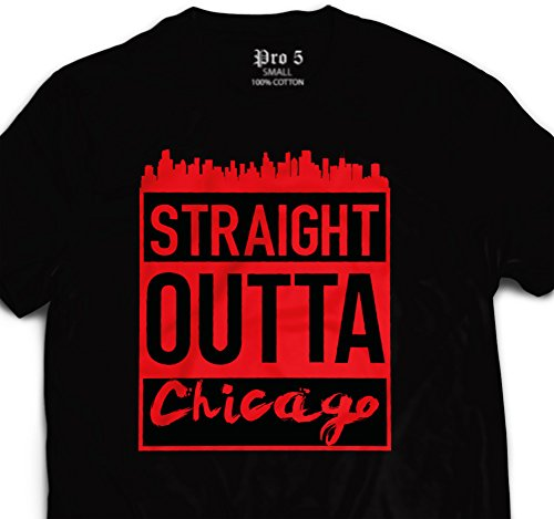 CaliDesign Straight Outta Chicago Urban T Shirt Black/RED
