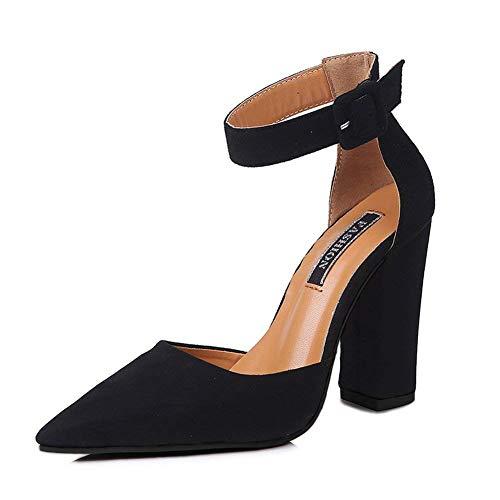 Printemps Sandale Femme De Hauts Boucle Pointue Sweet Mode Bloc Décontractée Été Talons Plage Noir Chaussures Shoes Minetom Tête f5XwWqAdPX