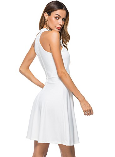 Dress Halter Women's Neck 9005 white Line Party A Berydress Sleeveless Casual wqaC8TS