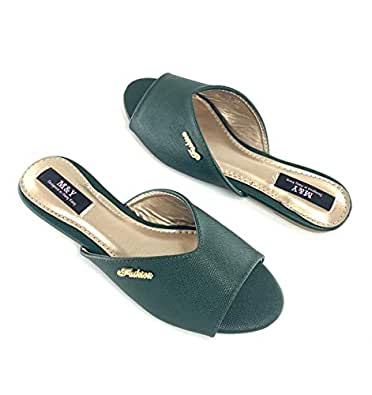 M&Y ladies flat slippers -Green