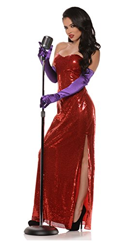 Hollywood Starlet Bombshell Costume Dress Red (Small (4-6)) -