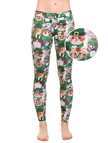 Women's Green ST. Patrick's Day Leggings - ST. Paddy's Day Tights Pants For Ladies (Cat, - Day Delivery Free